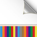 Colorful pencil on paper sheet. By illustrations Royalty Free Stock Photo