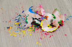 Colorful pencil peels Royalty Free Stock Image