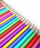Colorful pencil row Stock Photos