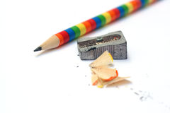 Colorful pencil and sharpener Stock Images
