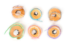 Colorful pencil shavings Royalty Free Stock Images