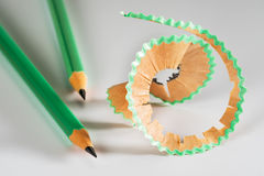 Colorful pencil with shavings stock image