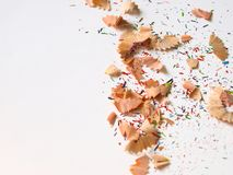 Colorful pencil shavings and pieces. Royalty Free Stock Photography