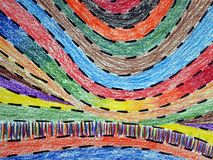 Colorful pencil strips. watercolor pencils. royalty free stock photography