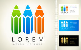 Colorful pencil logo. Colorful pencil symbol. Logo design vector illustration Royalty Free Stock Photography