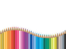 Colorful pencil wave illustration Stock Image