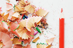 Colorful pencil and wood shavings Royalty Free Stock Image