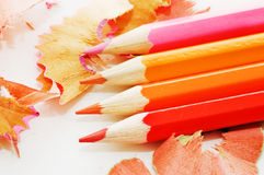 Colorful pencil and wood shavings Stock Photography