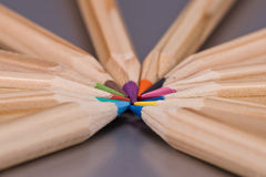 Colorful pencils. Colour pencils on a grey background Royalty Free Stock Photo