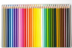 Colorful pencils. In box - background stock photo