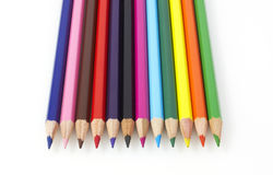 Colorful pencils. In the line on the table Royalty Free Stock Images
