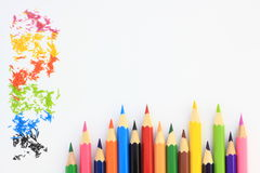 Colorful pencils. On a white background Royalty Free Stock Photo