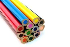 Colorful pencils. On white background- close up image Royalty Free Stock Photos