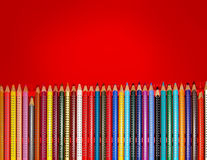 Colorful pencils. In red box with copy space Stock Photo
