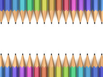 Colorful Pencils. In a row on white background Stock Photos