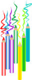 Colorful pencils. Easy to isolate  colorful pencils with drawing path Stock Image