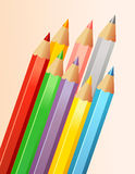 Colorful pencils. Different colors of pencils. Vector illustration Royalty Free Stock Photography