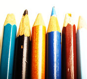 Colorful Pencils. A closeup view of bright colorful pencils in a line Stock Image
