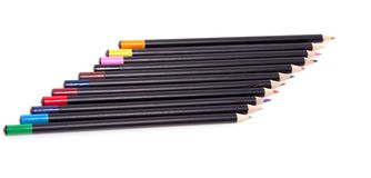 Colorful pencils abreast Stock Photo