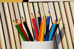 Colorful pencils against raw of books Royalty Free Stock Images