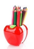 Colorful pencils in apple shaped stand Royalty Free Stock Image