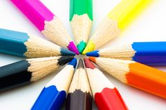 Colorful pencils arranged in circle Royalty Free Stock Image