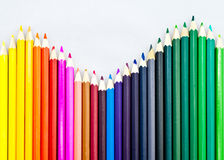 Colorful pencils in an array. Isolated picture of colorful pencils in an array Royalty Free Stock Photography