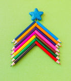 Colorful pencils as christmas tree, Royalty Free Stock Images
