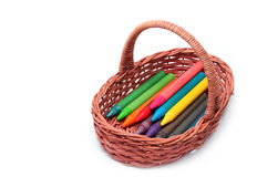 Colorful pencils in the basket  Stock Photography