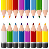 Colorful Pencils Borders. Two colorful pencils borders isolated on white background, useful as design elements, borders or banners. Eps file available Stock Photos