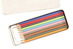 Colorful pencils in the box Royalty Free Stock Photos