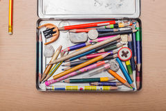 Colorful pencils in the box Royalty Free Stock Images