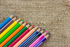 Colorful pencils on brown sack Royalty Free Stock Image