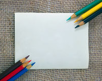 Colorful pencils on card Stock Photo