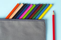 Colorful pencils in a case Royalty Free Stock Photo