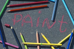 Colorful pencils and chalks Royalty Free Stock Photo