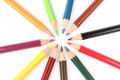 Colorful pencils in a circle Stock Image