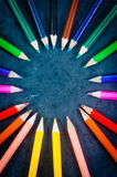 Colorful pencils in a circle Stock Photo