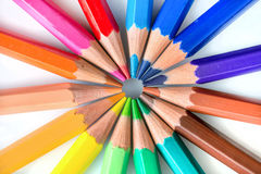 Colorful pencils in circle Royalty Free Stock Photo
