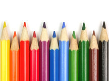 Colorful pencils close-up on white background Stock Photography