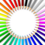 Colorful pencils collection arranged in circle. Rainbow of colorful wood pencils arranged in circle on empty white background illustration royalty free illustration