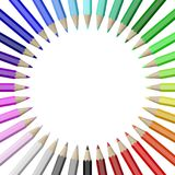 Colorful Pencils Collection Arranged in Circle. Rainbow of Colorful Wood Pencils Arranged in Circle Isolated on White Background Illustration royalty free illustration