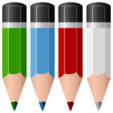 Colorful Pencils Collection. A collection of colorful small pencils in four different colors (green, blue, red and white), isolated on white background. Eps file royalty free illustration