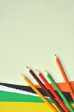 Colorful pencils and color paper Stock Photography