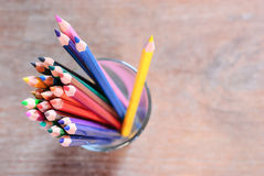 Colorful pencils on color wooden background Stock Photography