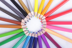 Colorful of pencils in concept all for one Stock Photography