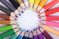 Colorful of pencils in concept all for one Royalty Free Stock Photography