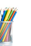Colorful pencils in container isolated, time to school Royalty Free Stock Photography