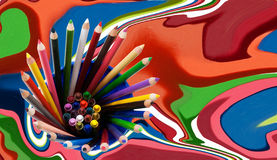 Colorful pencils and crayons Royalty Free Stock Photos