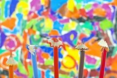 Colorful pencils crayons shavings Stock Photos